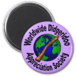 Sociedad mundial del aprecio de Didgeridoo Imán Redondo 5 Cm