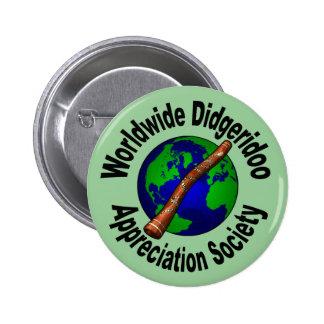 Sociedad mundial del aprecio de Didgeridoo Pin Redondo De 2 Pulgadas