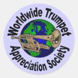 Sociedad mundial del aprecio de la trompeta pegatinas redondas