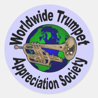 Sociedad mundial del aprecio de la trompeta pegatina redonda