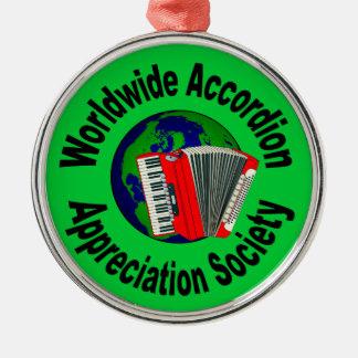 Sociedad mundial del aprecio del acordeón adorno redondo plateado