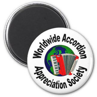 Sociedad mundial del aprecio del acordeón imán redondo 5 cm