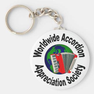 Sociedad mundial del aprecio del acordeón llavero redondo tipo pin
