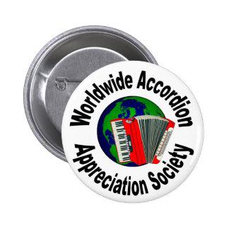 Sociedad mundial del aprecio del acordeón pin redondo de 2 pulgadas