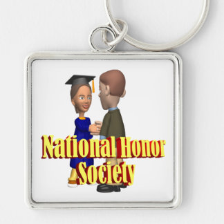 Sociedad nacional del honor llavero cuadrado plateado