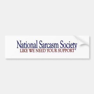 Sociedad nacional del sarcasmo pegatina para auto