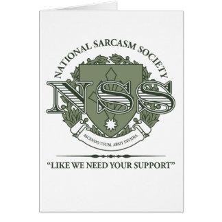 Sociedad nacional del sarcasmo tarjeta de felicitación