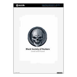 Sociedad negra del producto del logotipo de los pegatina skin para iPad 3