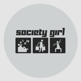 Society Girl Classic Round Sticker