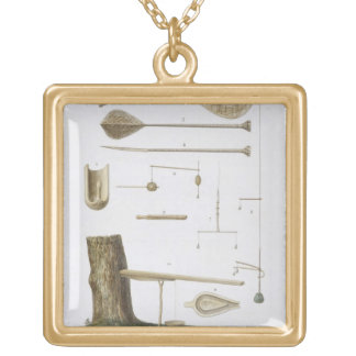 Society Islands: pangas, fishing hooks and other t Gold Plated Necklace
