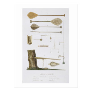 Society Islands: pangas, fishing hooks and other t Postcard