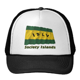 Society Islands Waving Flag with Name Trucker Hat