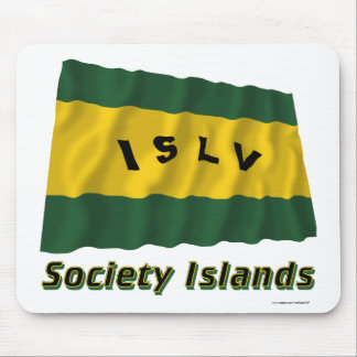Society Islands Waving Flag with Name Mouse Pad