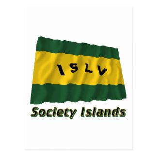 Society Islands Waving Flag with Name Postcard