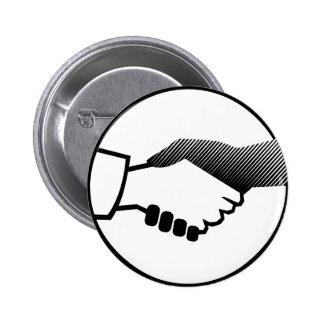 socio blanco negro del acuerdo de la historia de C Pin Redondo De 2 Pulgadas