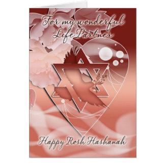 Socio de la vida - Rosh Hashanah - paloma - flores Tarjeta De Felicitación