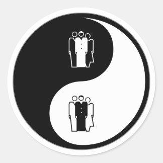 Sociología de Yin Yang Pegatina Redonda