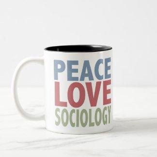 Sociología del amor de la paz taza de café de dos colores