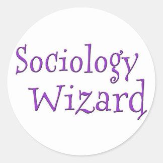 Sociology Wizard Round Stickers