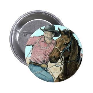 Socios del RODEO, buey del vaquero que lucha Pin Redondo De 2 Pulgadas