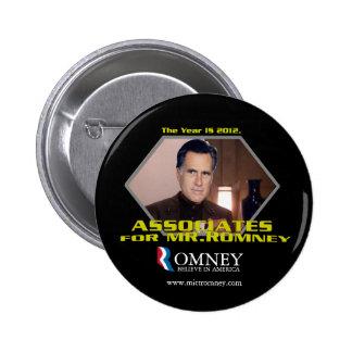 Socios para el botón de Sr. Romney Pin Redondo De 2 Pulgadas