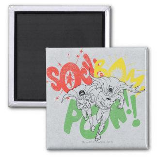 SOCK BAM POW Batman and Robin 2 Inch Square Magnet