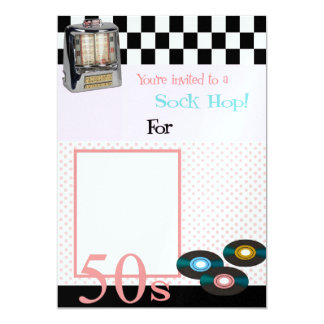 Sock Hop 5x7 Paper Invitation Card
