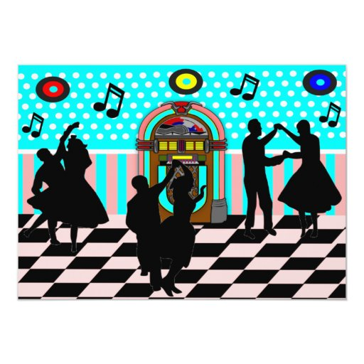 Sock Hop Fifties Dance Theme Party Invitations | Zazzle
