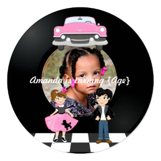 Sock Hop Kids 1950's Rock and Roll Retro Party Card