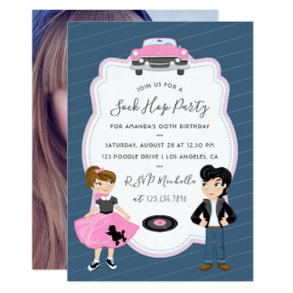 Sock Hop Kids Rock and Roll Retro Party photo Card