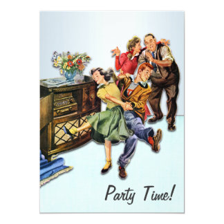 Sock Hop Party Time Retro Custom Personalized Card
