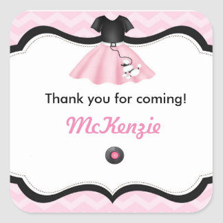 Sock Hop Poodle Skirt Birthday Favor Tags Square Sticker