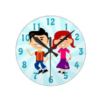 Sock Hoppin 1950's Kids Round Clock