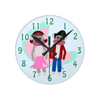 Sock Hoppin Sock Monkey Time Round Clock