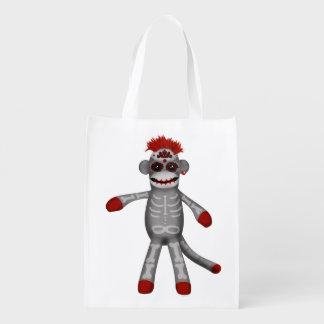 Sock monke Sugar Skull Day of the Dead Grocery Bags