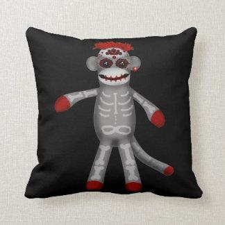 Sock monke Sugar Skull Day of the Dead Throw Pillow