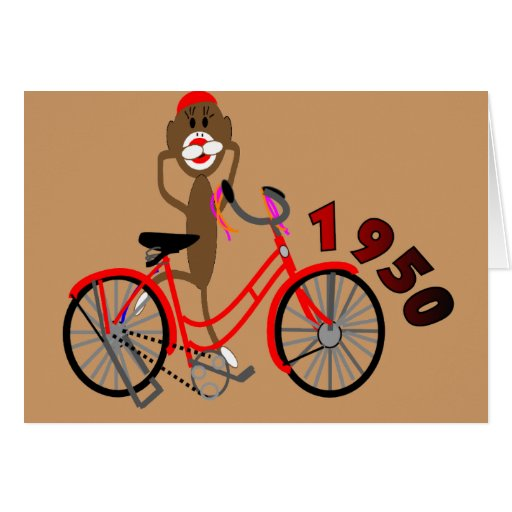 sock monkey 1950 s bicycle drawing unique card zazzle