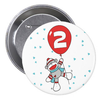 Sock Monkey 2nd Birthday Pinback Buttons