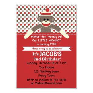Sock Monkey 2nd Birthday Party Invite
