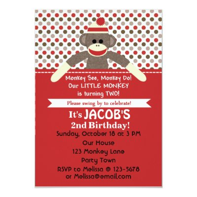 Monkey 2nd Birthday Party Invitations