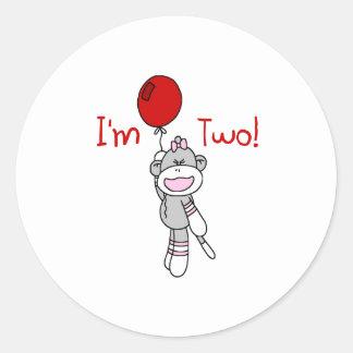 Sock Monkey 2nd Birthday Sticker