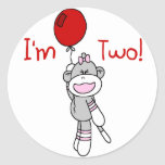 Sock Monkey 2nd Birthday Tshirts and Gifts Stickers