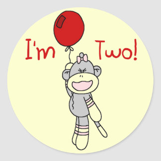 Sock Monkey 2nd Birthday Tshirts and Gifts Round Stickers