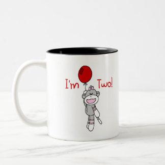 Sock Monkey 2nd Birthday Two-Tone Coffee Mug