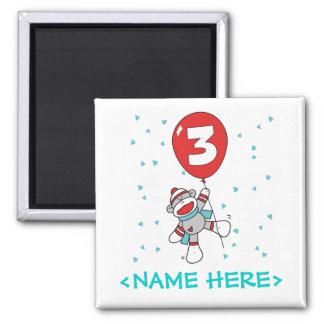 Sock Monkey 3rd Birthday 2 Inch Square Magnet