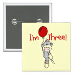 Sock Monkey 3rd Birthday Tshirts and Gifts 2 Inch Square Button