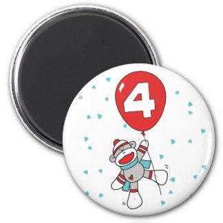 Sock Monkey 4th Birthday 2 Inch Round Magnet