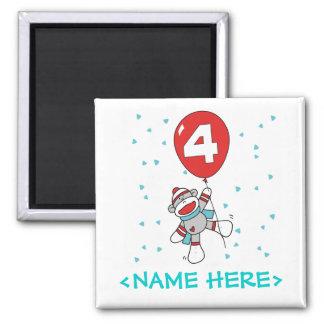 Sock Monkey 4th Birthday 2 Inch Square Magnet