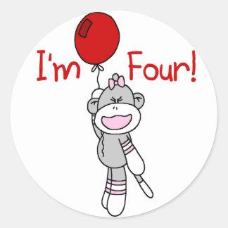 Sock Monkey 4th Birthday Tshirts and Gifts Classic Round Sticker