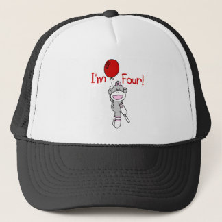 Sock Monkey 4th Birthday Tshirts and Gifts Trucker Hat